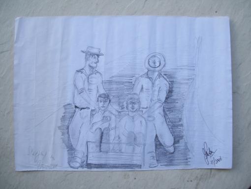 John Piper Street Sledging Sketch