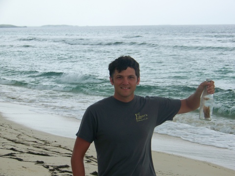Me with John E. Freeland's Bottle on the Beach