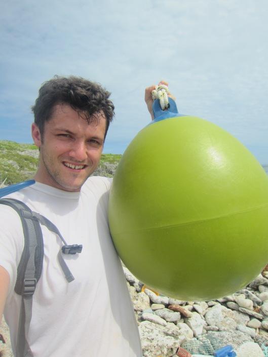 Big Green Buoy on Beach