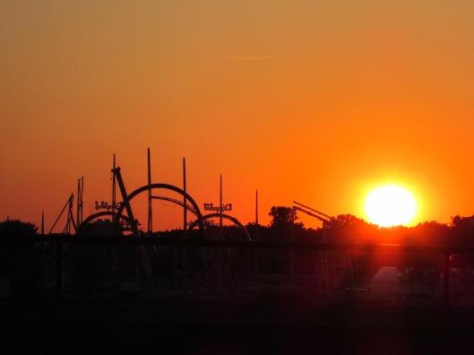 Dusseldorf Theme Park / Amusement Park at Sunset