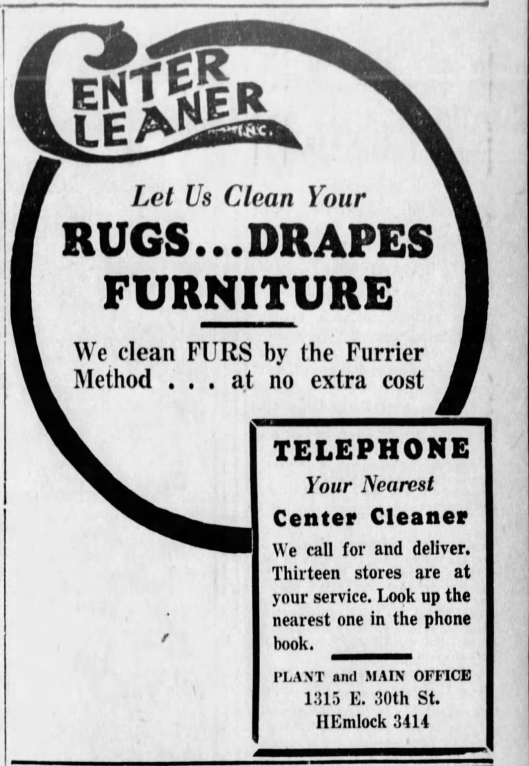 Center Cleaners Ad April 14th 1935 Indianapolis Star.png