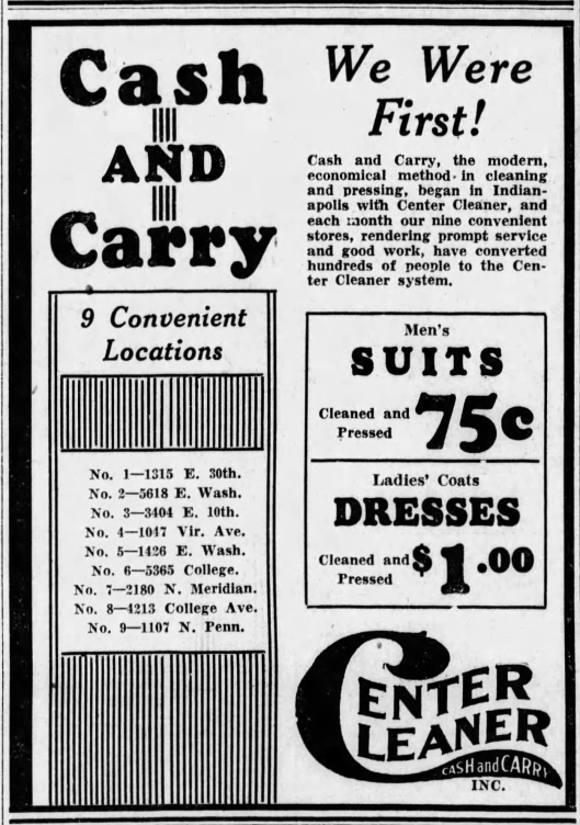 Center Cleaners June 10th 1930 Indianapolis Star.png