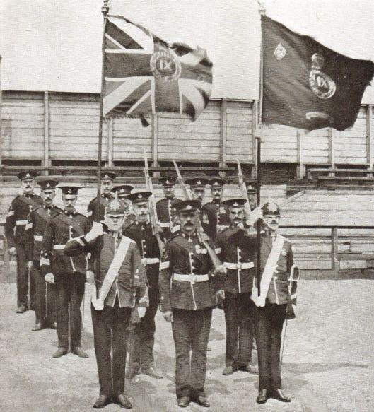 Colour Party of the 9th Battalion Durham Light Infantry, June 19th, 1909 (Wikipedia)
