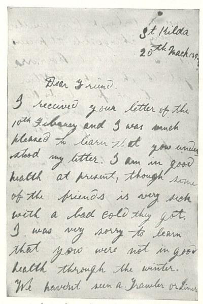 St. Kilda letter to Richard Kearton part one
