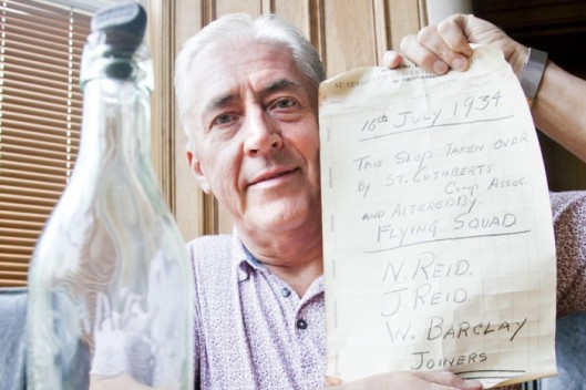 James Barclay with Reid Message in a Bottle - Edinburgh Evening News