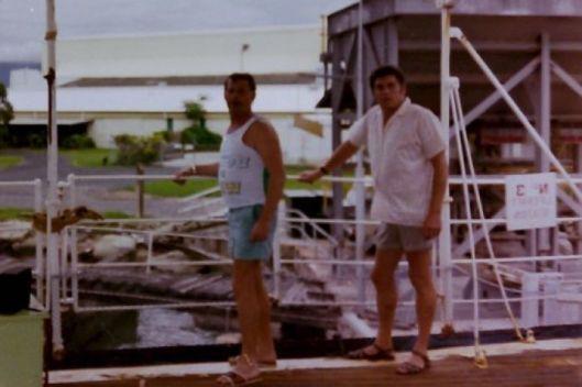 Steve Slavely and Nigel Hanlon MV Cape Don 1982