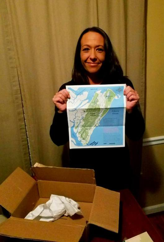 Miranda Moss with Map of Sapelo Island